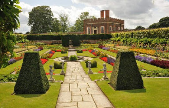 One of the gardens at Hampton Court Palace